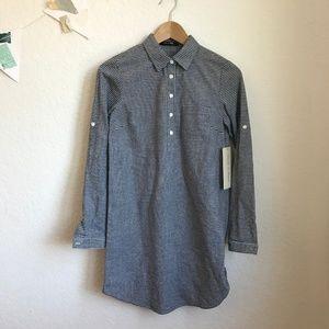 Doe & Rae roll up sleeve shirt dress stripe gray S
